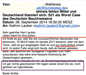 E-Mail Auszug zum Thema Stuttgart 21 -S21