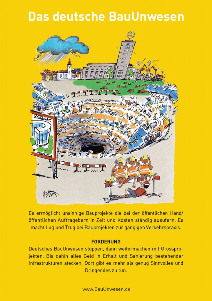 Plakat mit Cartoon Stuttgart 21 / S21