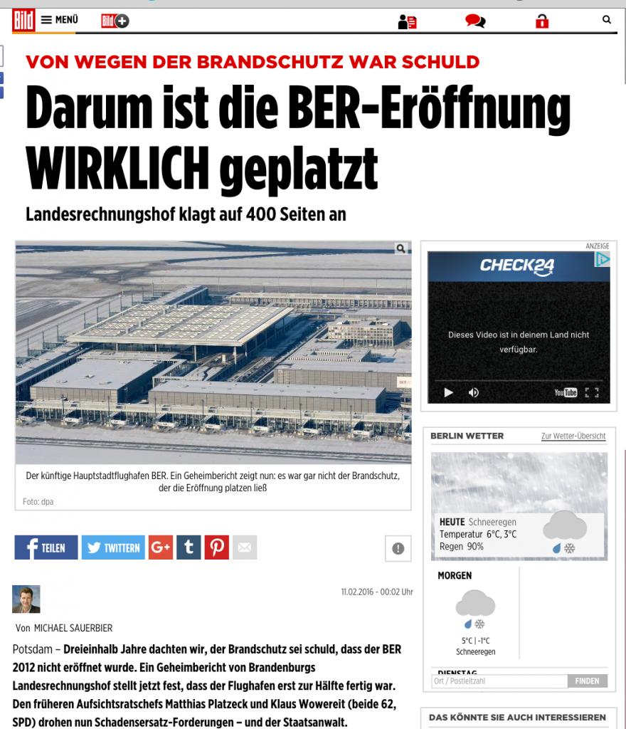 Bild Schlagzeile 11.2.2016 über BER