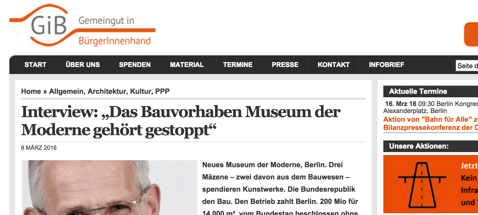 Beitrag Museum der Moderne