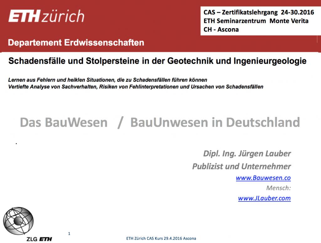 BauWesen Schweiz ETHZ Geotechnik Startfolie 90 min
