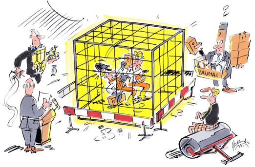 Bauunternehmer als Cage Fighter Cartoon