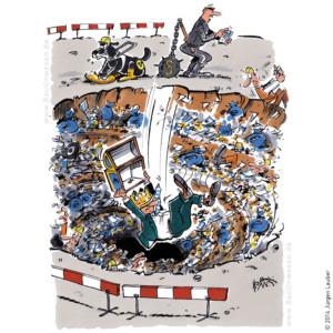 Bei öffentlichen Baumassnahmen fällt der falsche ins Loch. Der Planer statt der Bauherr.