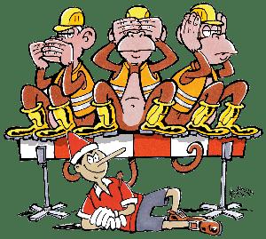 Affen auf der Baustelle