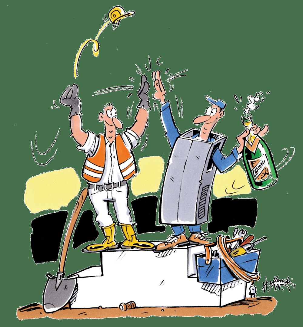 Bauleute auf dem Podium - Die Herren des Baubetrieb